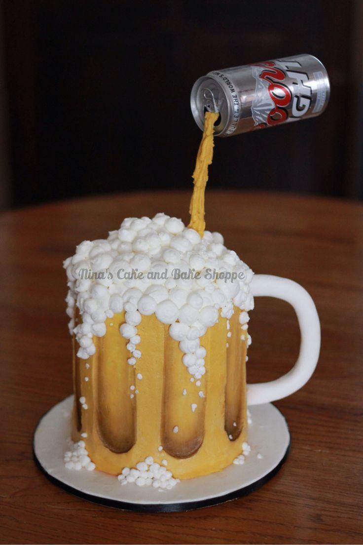 Beer Mug Cake  Coors Light Beer mug gravity cake Birthday cake