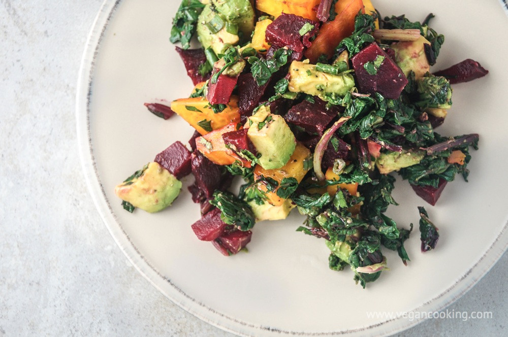 Beet Greens Salad  Beet Beet Green and Avocado Salad with Tahini Lemon