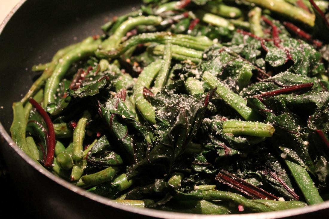 Beet Greens Salad  Sauteed Beet Green & Green Bean Salad