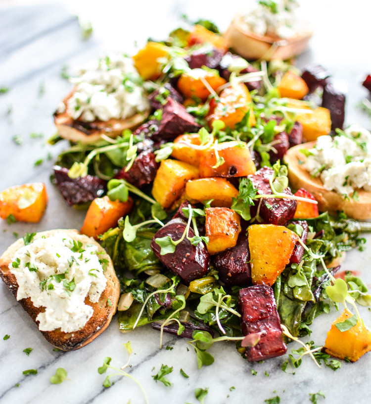 Beet Greens Salad  Roasted Beets and Beet Greens with Goat Cheese Crostini