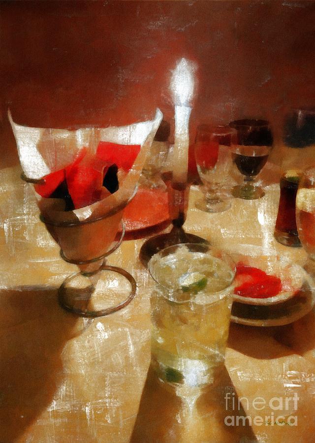 Before Dinner Drinks  Drinks Before Dinner Painting by RC deWinter