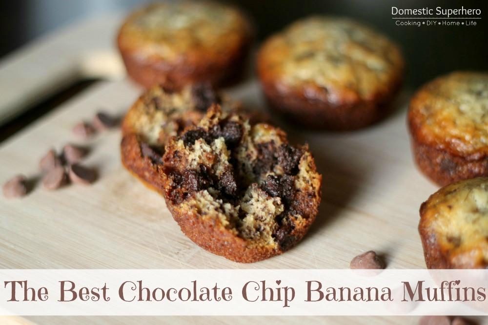 Best Banana Bread Muffins  The Best Chocolate Chip Banana Muffins Domestic Superhero