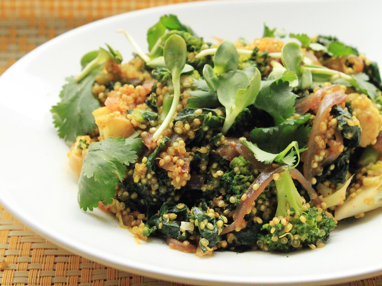 Best Vegetarian Dinner Recipes  Vegan Quinoa Broccoli and Kale Curry Recipe