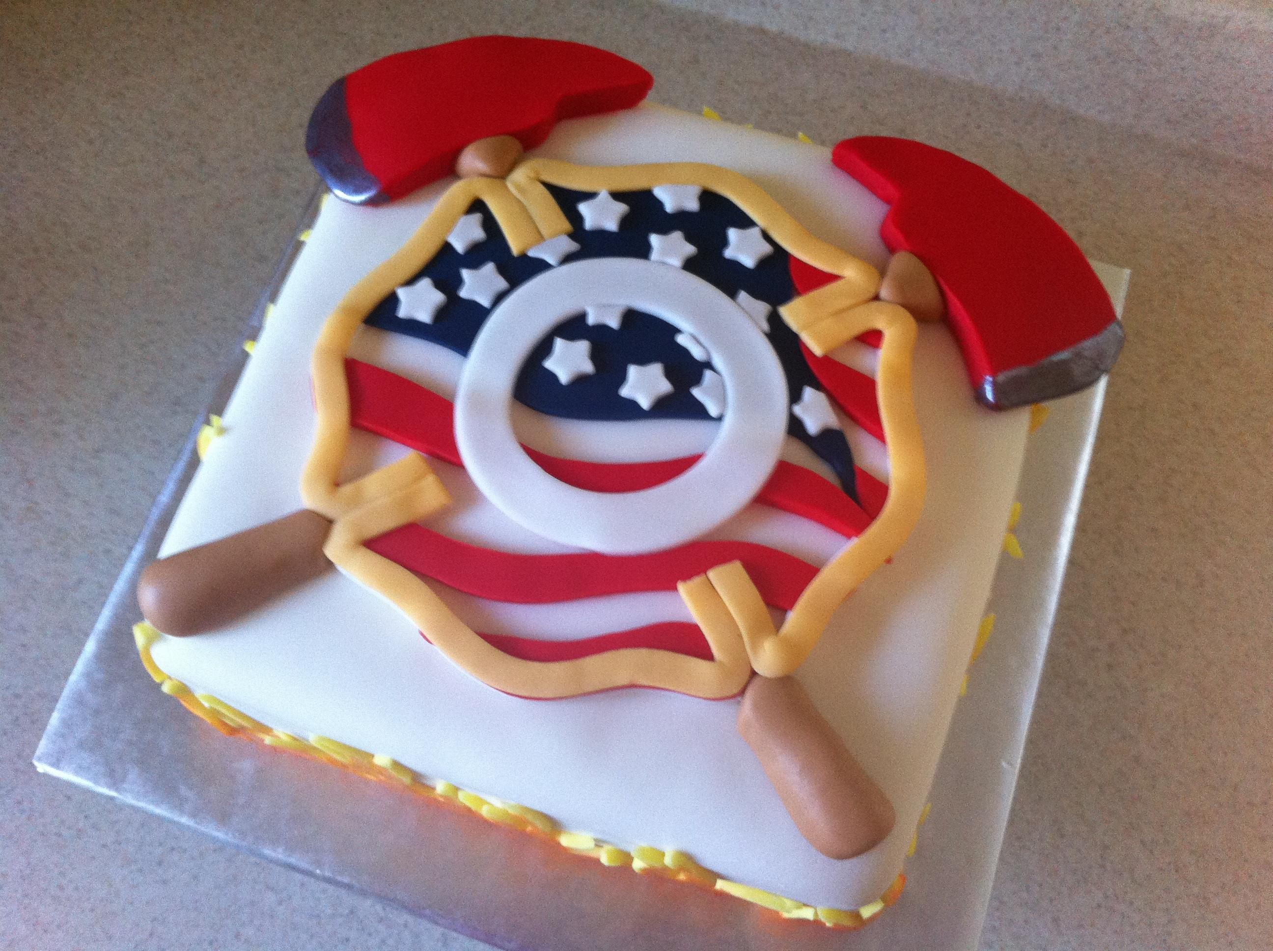 Birthday Cake Fire  firefighter cake
