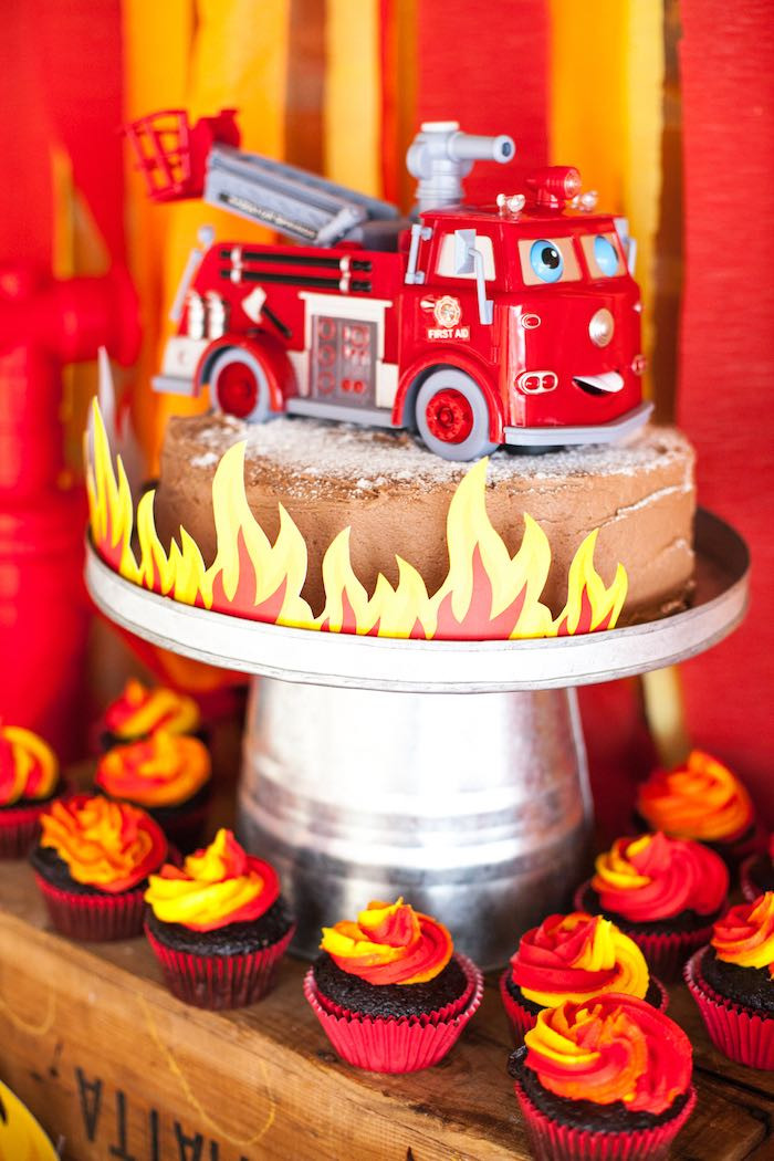 Birthday Cake Fire  Kara s Party Ideas Fireman Birthday Party