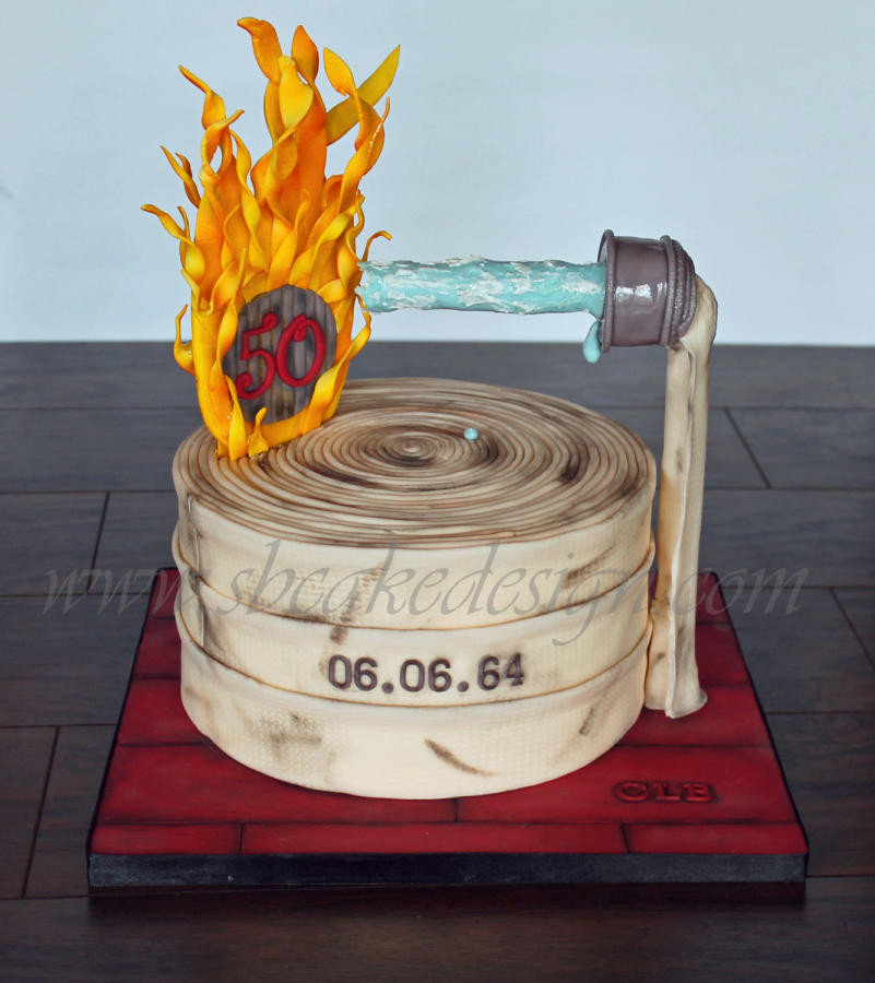 Birthday Cake Fire  Firefighter 50th Birthday Cake Cake by Shannon Bond Cake