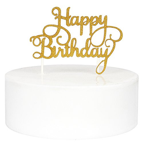 Birthday Cake Toppers  INNORU Happy Birthday Cake Toppers Single Sided Gold