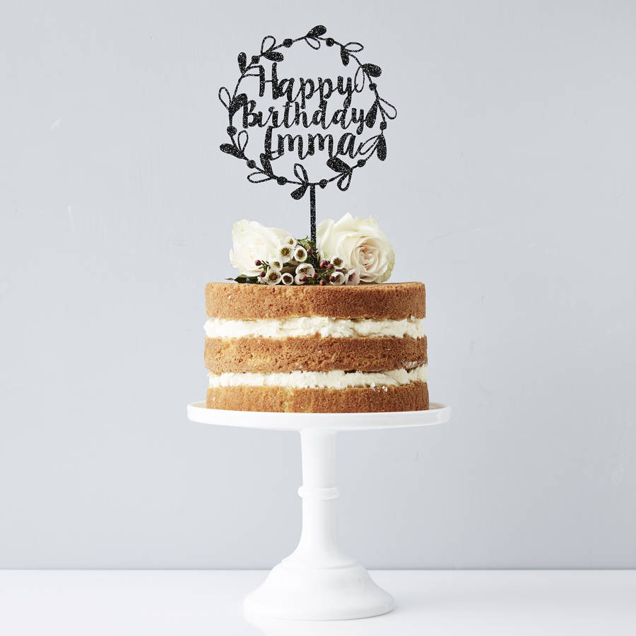 Birthday Cake Toppers  personalised floral birthday cake topper by sophia