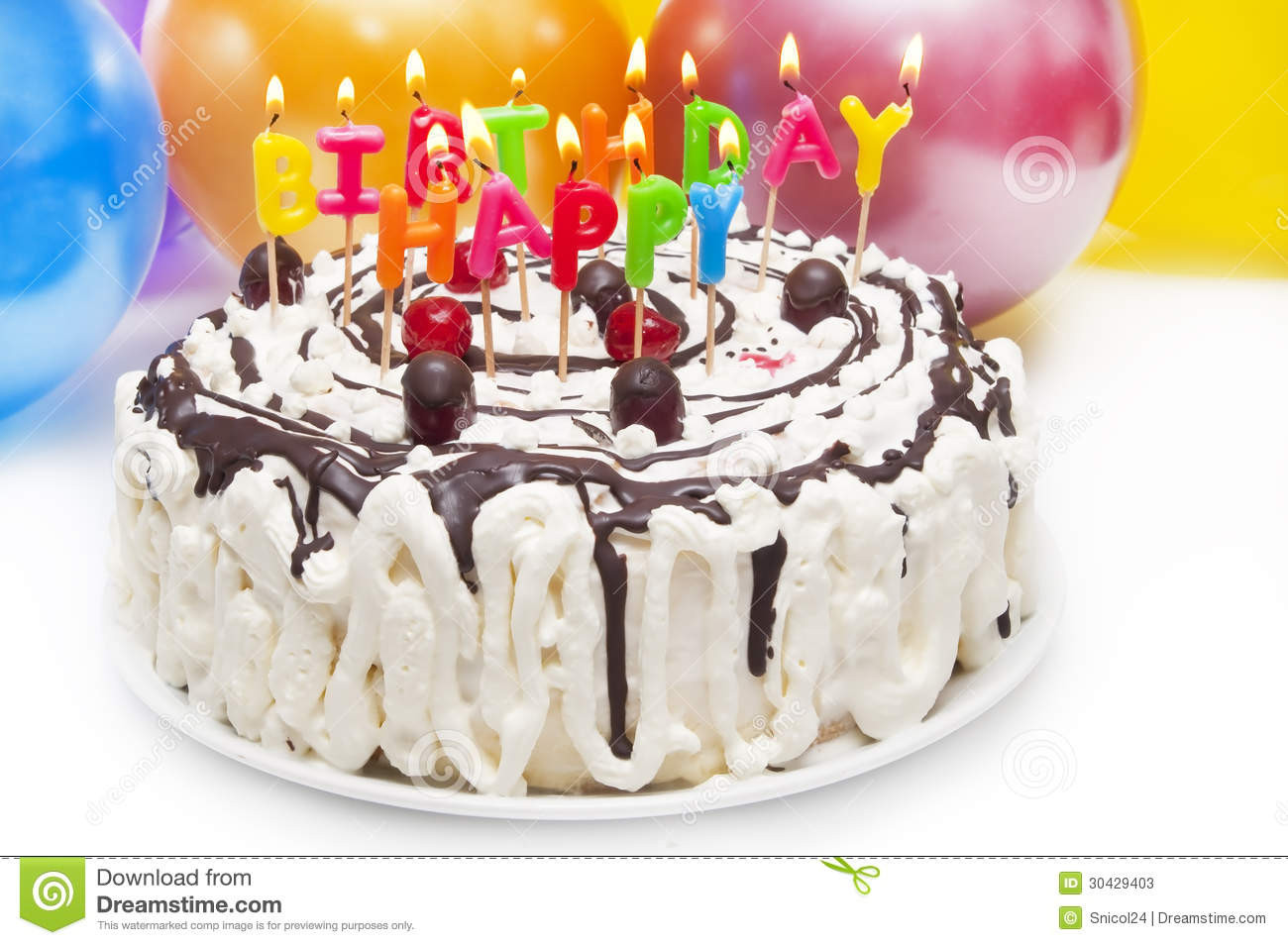 Birthday Cake With Candles And Balloons  Birthday Cake Stock s Image