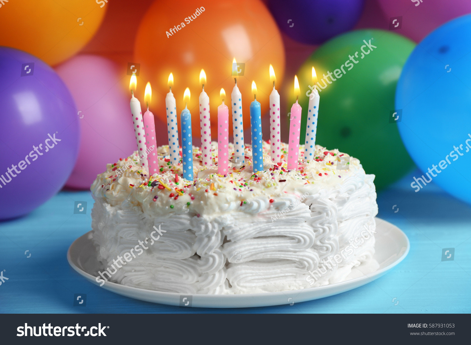 Birthday Cake With Candles And Balloons  Birthday Cake Candles Balloons Background Stock
