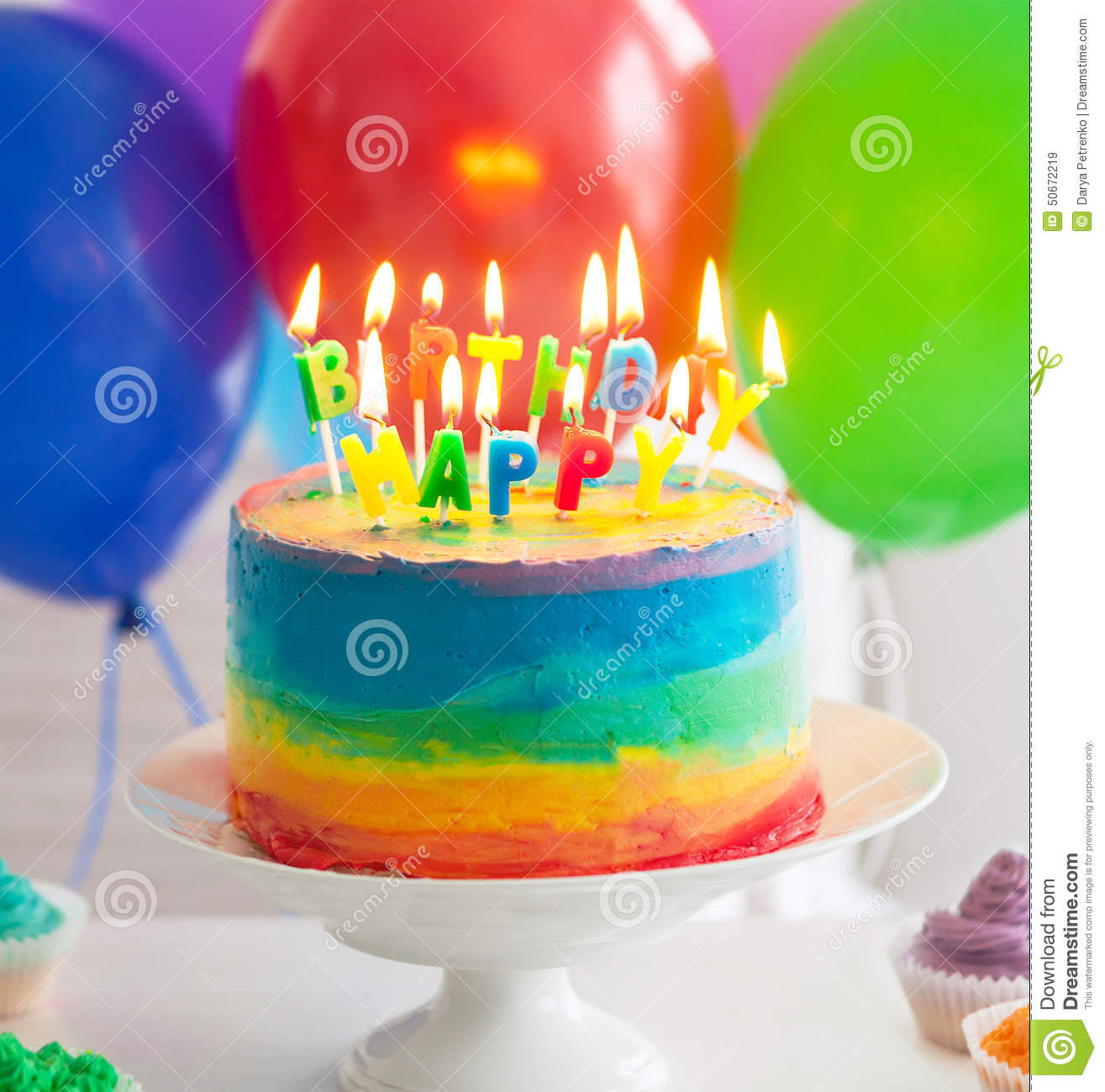 Birthday Cake With Candles And Balloons  Rainbow Cake And Cupcakes Decorated With Birthday Candles