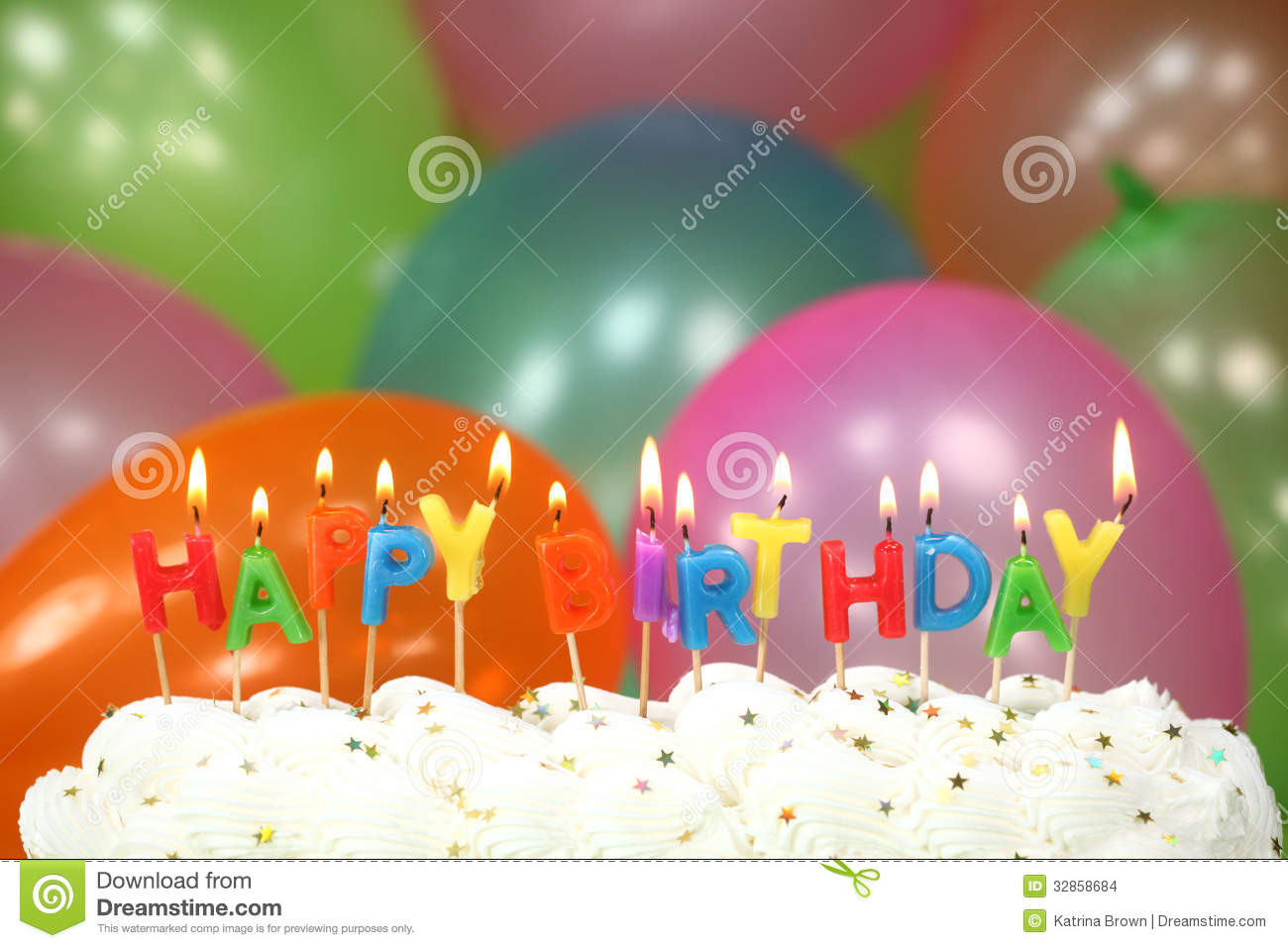 Birthday Cake With Candles And Balloons  Celebration With Balloons Candles And Cake Stock