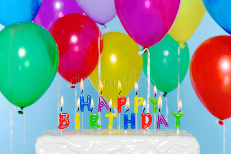 Birthday Cake With Candles And Balloons  Happy Birthday Candles Cake With Balloons Stock