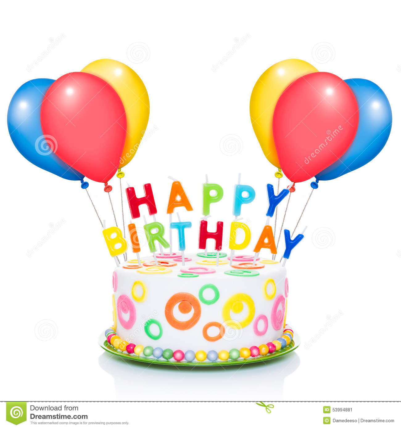 Birthday Cake With Candles And Balloons  Happy birthday cake stock image Image of chocolate