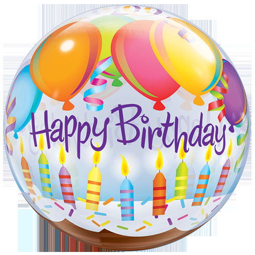 """Birthday Cake With Candles And Balloons  22"""" Birthday Candle & Cake Bubble Balloon"""