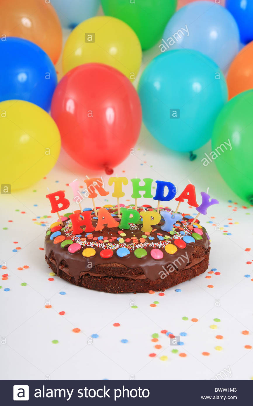 Birthday Cake With Candles And Balloons  Birthday cakes Happy Birthday cake candles balloons party