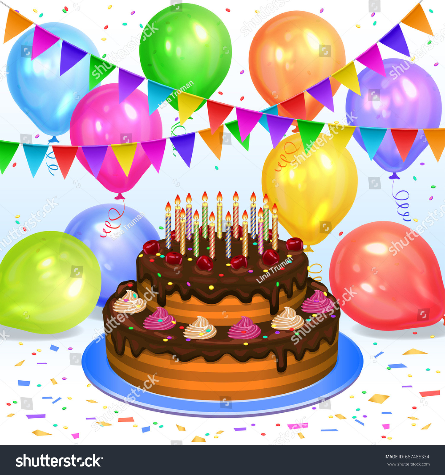 Birthday Cake With Candles And Balloons  Birthday Cake Candles Colorful Balloons Confetti Stock