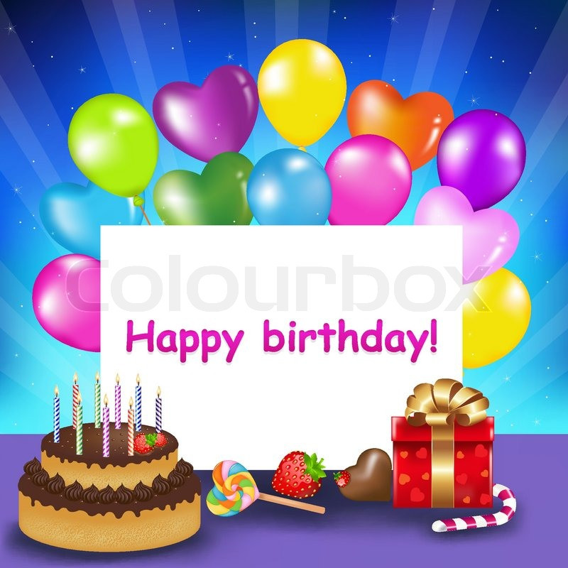 Birthday Cake With Candles And Balloons  Decoration Ready For Birthday With Birthday Cake With