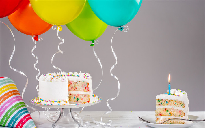 Birthday Cake With Candles And Balloons  Download wallpapers Happy birthday cake candles