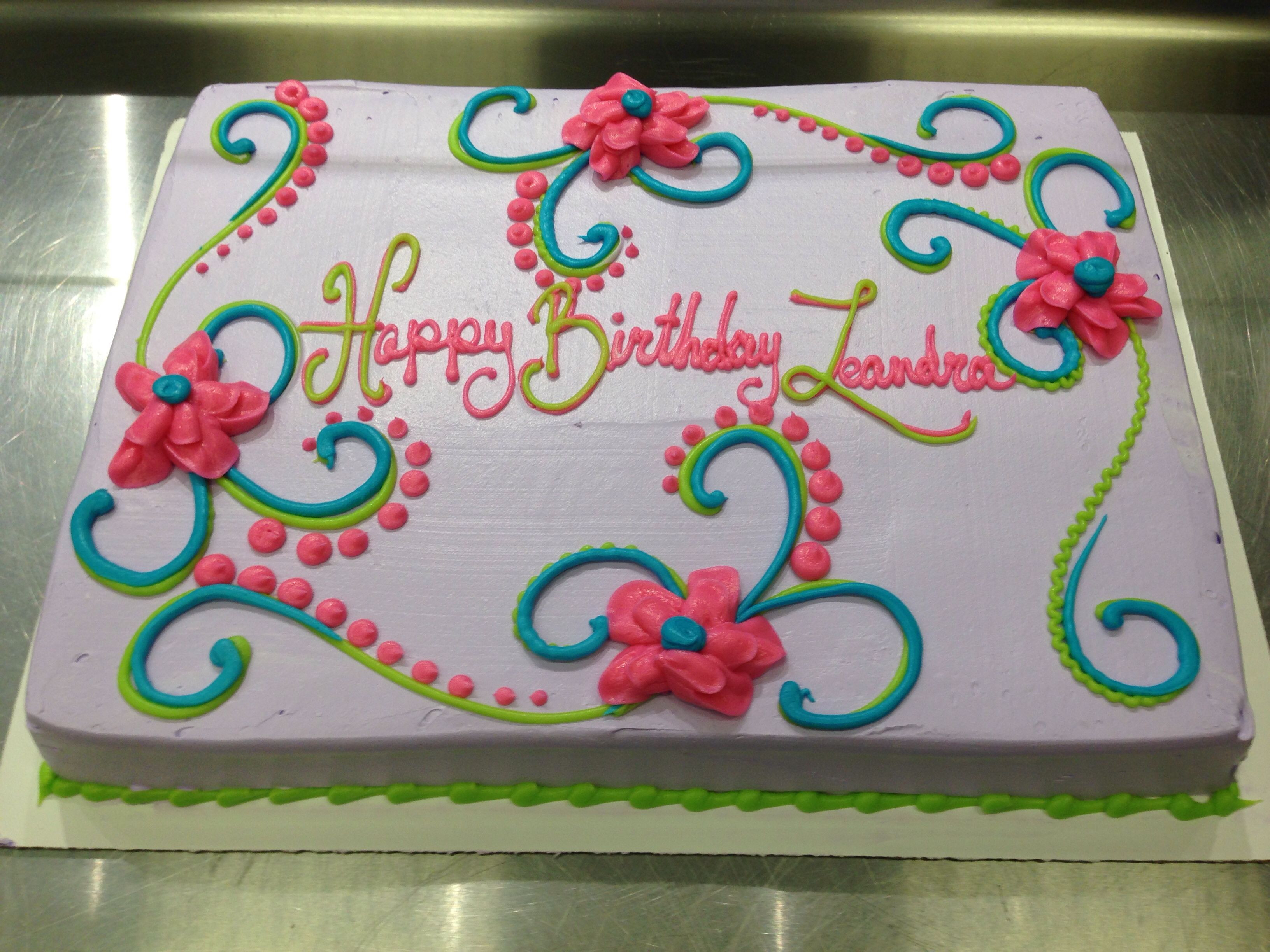 Birthday Sheet Cake  Scrolls and flowers girly birthday cake