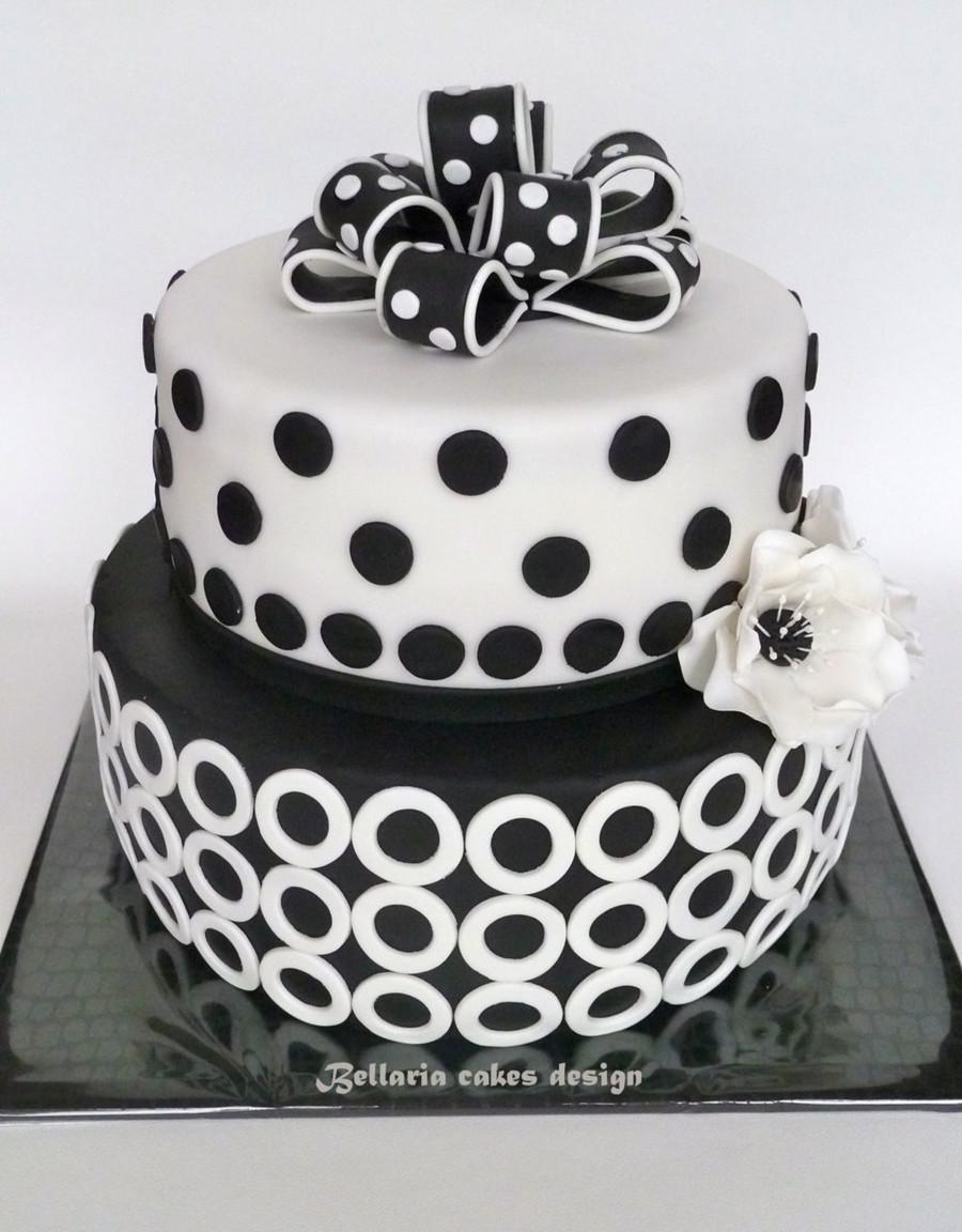 Black And White Cake  Black And White Birthday Cake CakeCentral