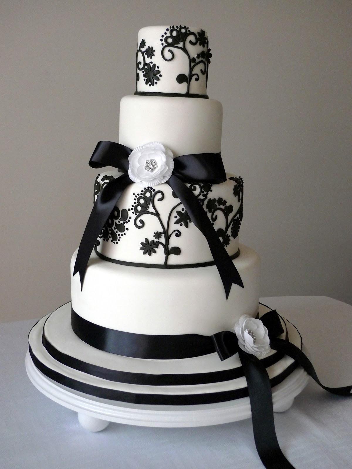 Black And White Cake  Cakebee Elegant Black & White Wedding Cakes