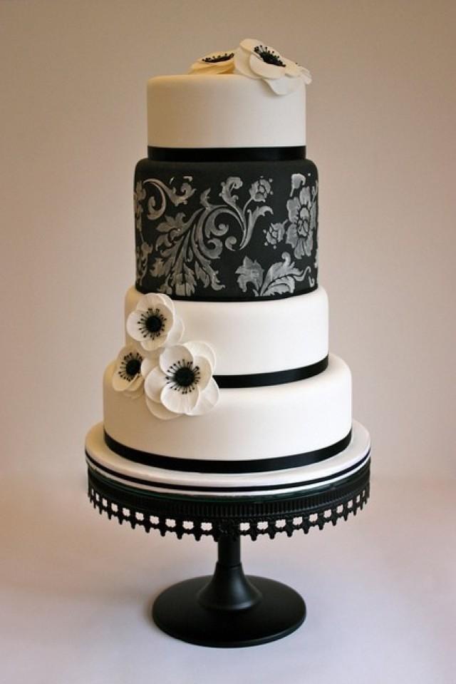 Black And White Cake  Black And White Wedding Black White Cake Weddbook