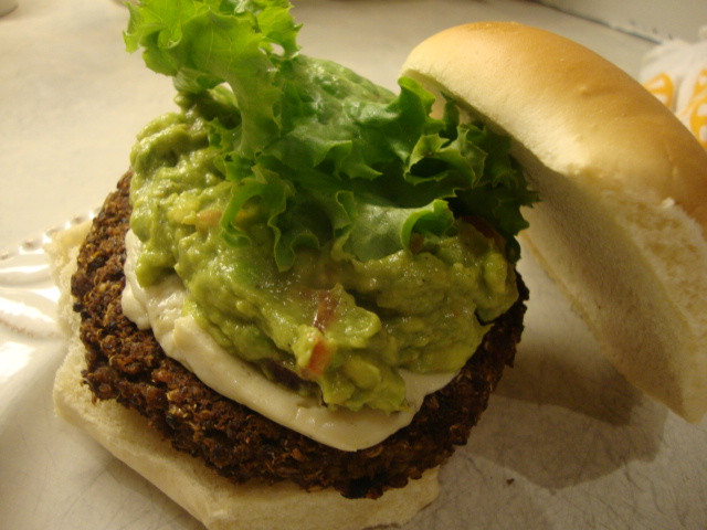 Black Bean And Quinoa Burger  Quinoa and Black Bean Burgers with Guacamole