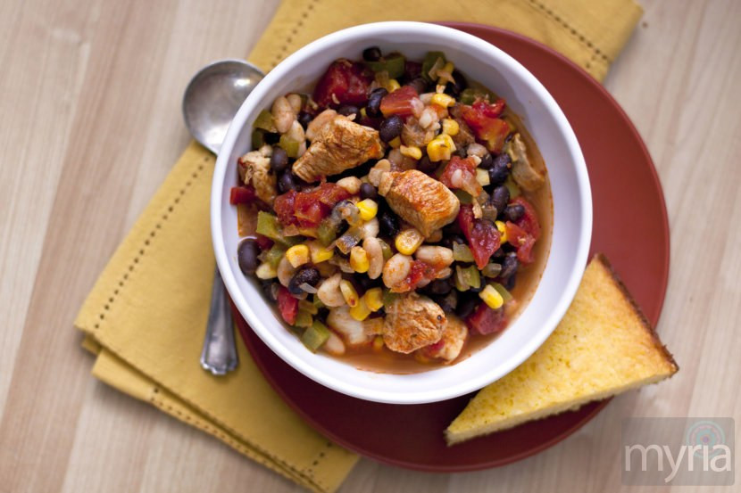 Black Bean Chicken Chili  Chicken chili with black beans and corn Myria