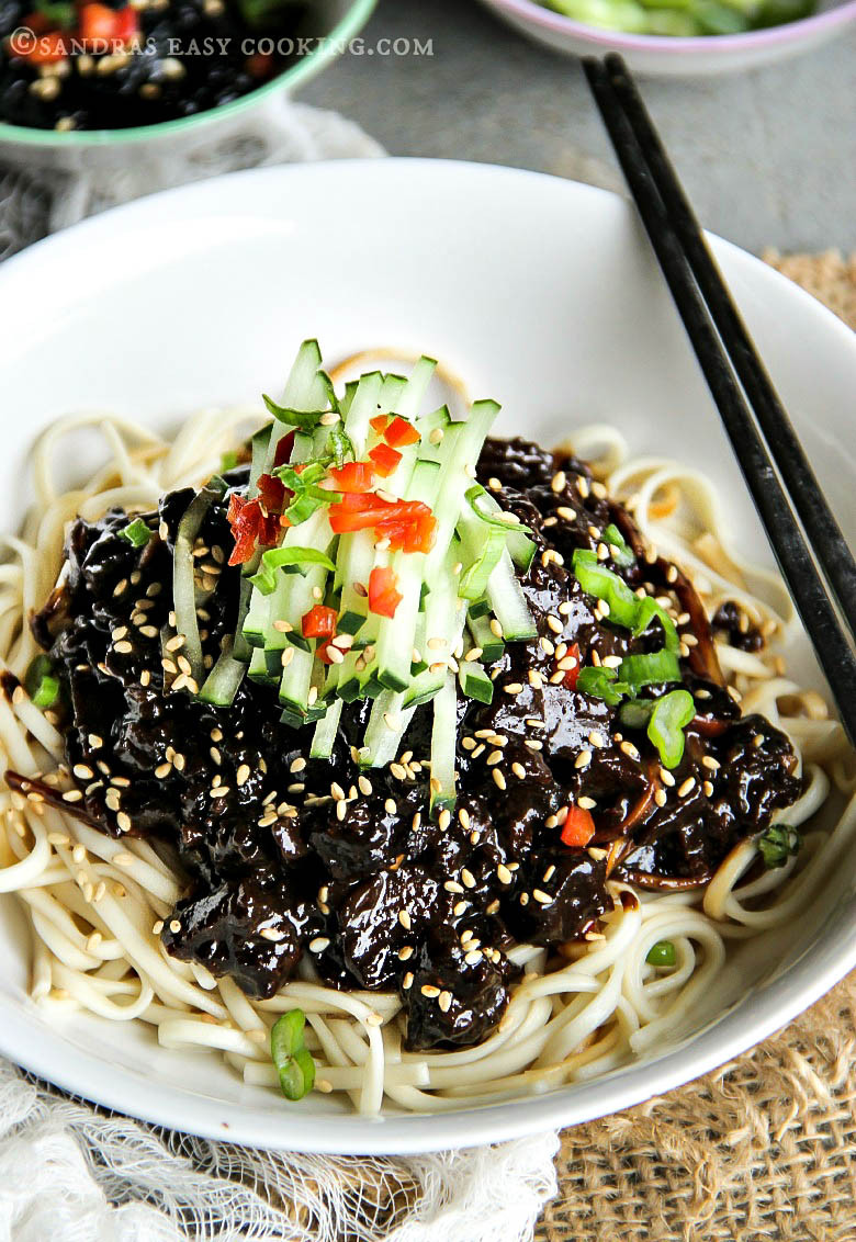Black Bean Noodles Recipe  Black Bean Noodles Jjajangmyeon Sandra s Easy Cooking