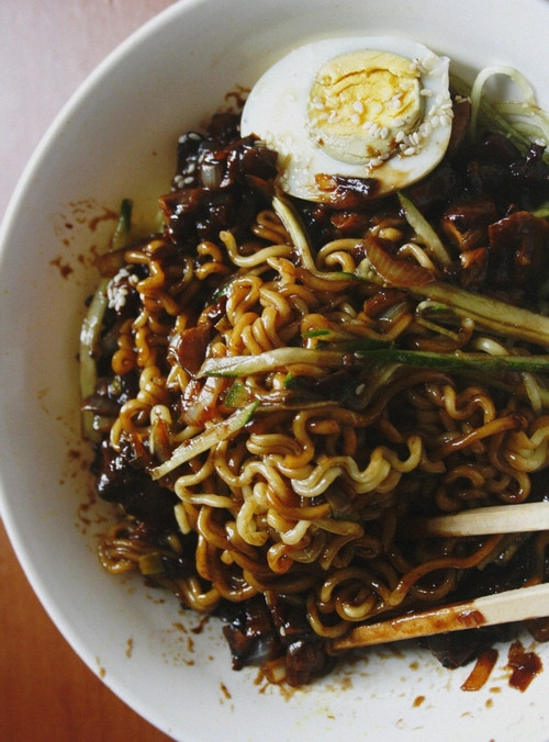 Black Bean Noodles Recipe  Notions & Notations of a Novice Cook • Making Jjajang