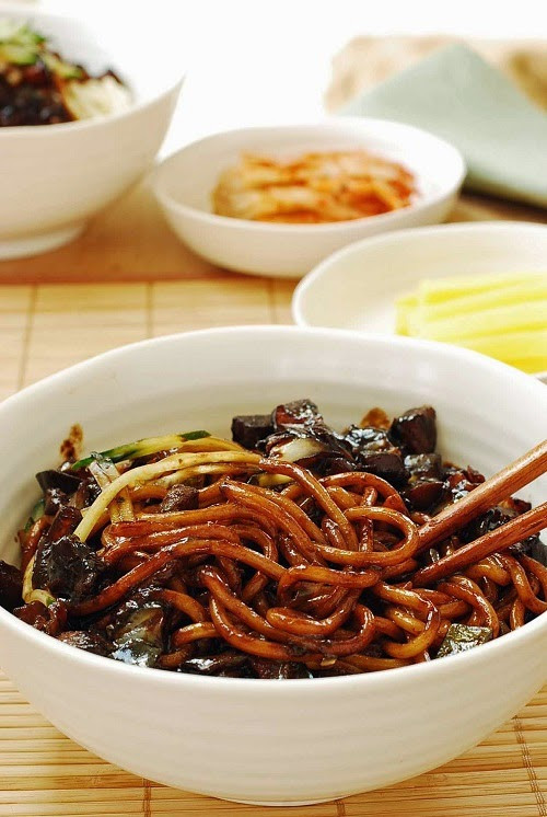 Black Bean Noodles Recipe  Jajangmyeon Noodles in Black Bean Sauce Korean Bapsang