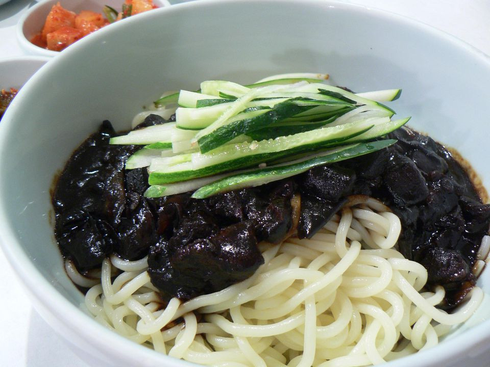 Black Bean Noodles Recipe  Korean Noodles With Black Bean Sauce Recipe