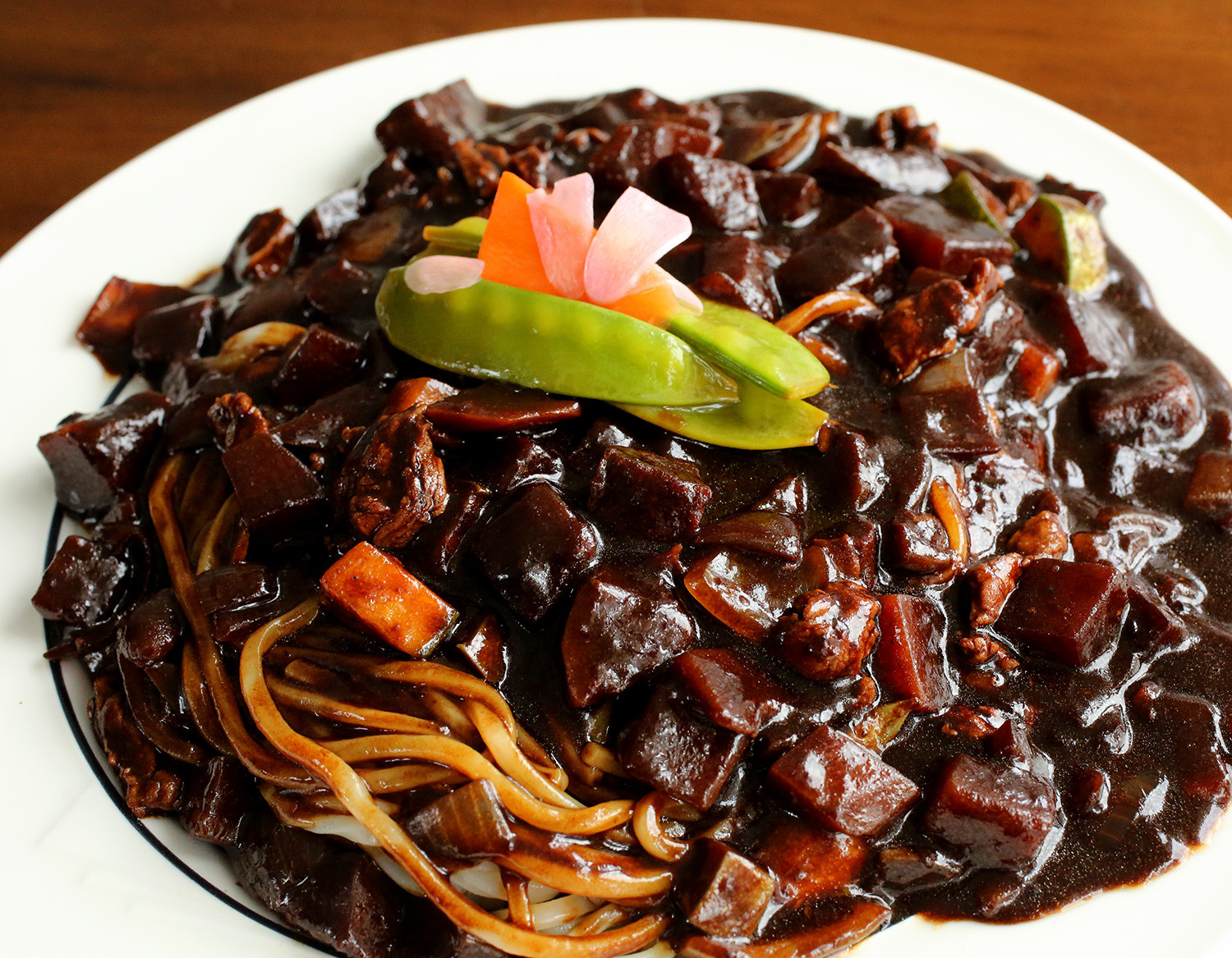 Black Bean Noodles Recipe  Korean food photo Jjajangmyeon noodles in black bean