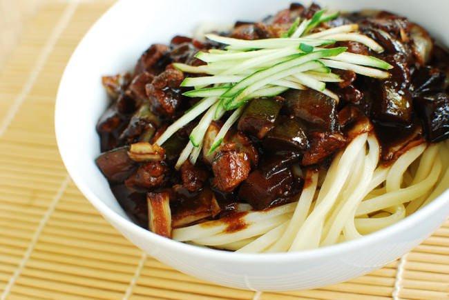 Black Bean Noodles Recipe  Jajangmyeon Noodles in Black Bean Sauce Korean Bapsang