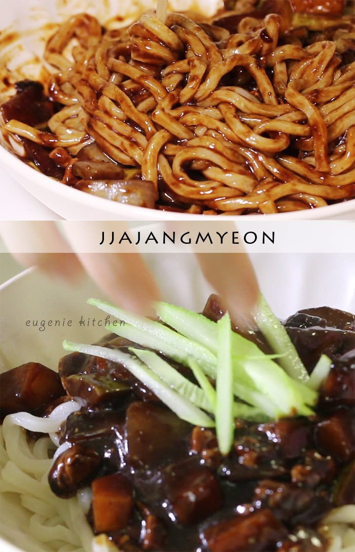 Black Bean Noodles Recipe  Jjajangmyeon Recipe Korean Black Bean Noodle Eugenie