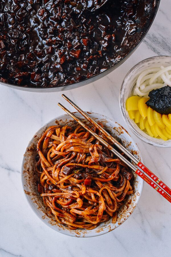 Black Bean Noodles Recipe  Korean Black Bean Noodles Jajangmyeon The Woks of Life