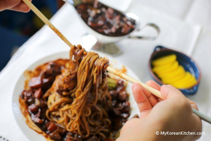 Black Bean Noodles Recipe  Korean Black Bean Sauce Noodles Jajangmyeon My Korean