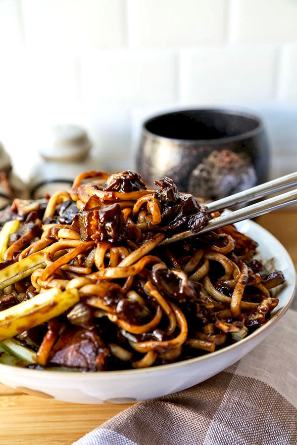 Black Bean Noodles Recipe  Vegan Jajangmyeon Korean noodles with black bean sauce