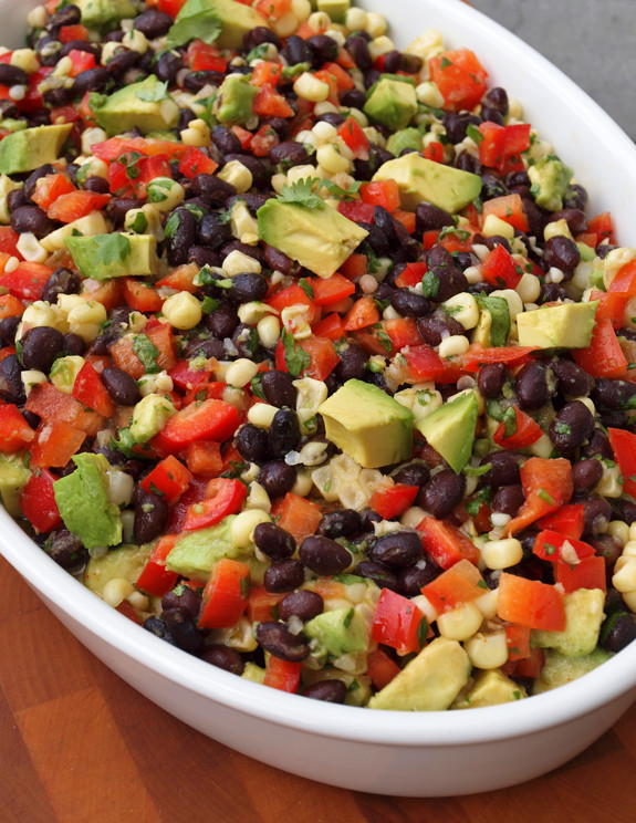 Black Bean Salad Recipes  Black Bean Salad with Corn Red Peppers Avocado & Lime
