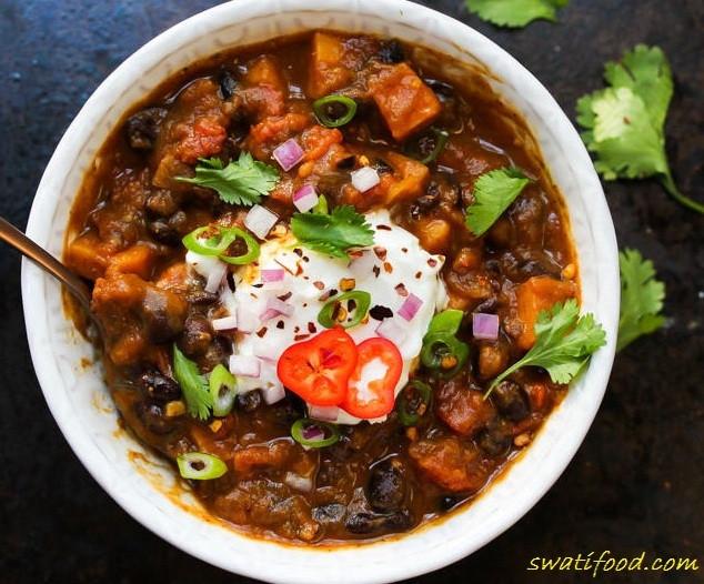 Black Bean Sweet Potato Chili  sweet potato black bean chili recipe Swati Food