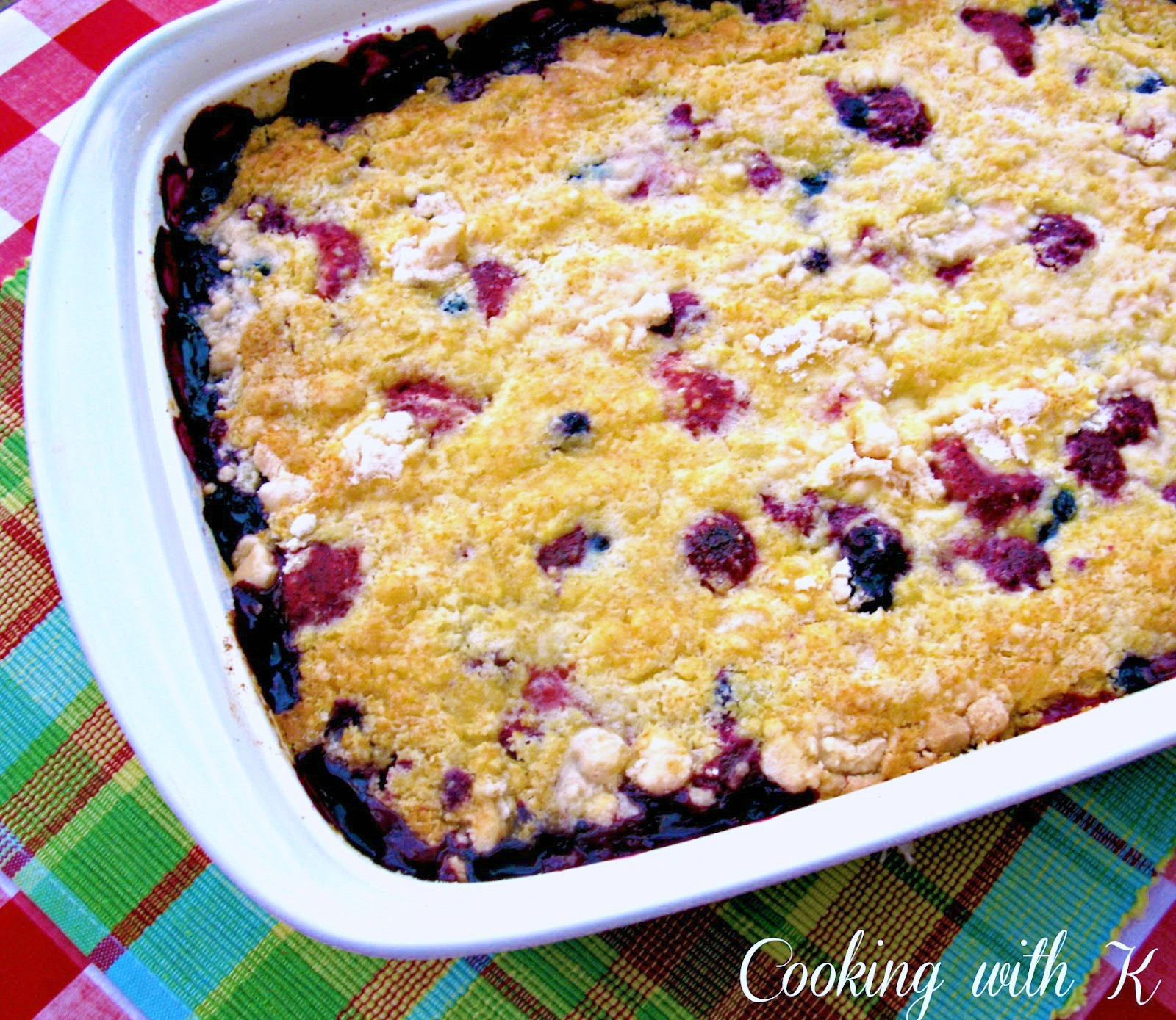 Blackberry Cobbler With Cake Mix  Cooking with K Triple Berry Cobbler this is a lazy day