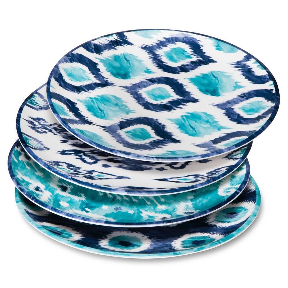 Blue Dinner Plates  Blue Ikat Melamine Dinner Plates 10 5in Set of 4