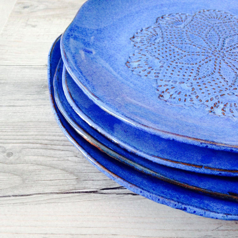 Blue Dinner Plates  Blue Dinnerware set Handmade Ceramic Dinnerware Rustic