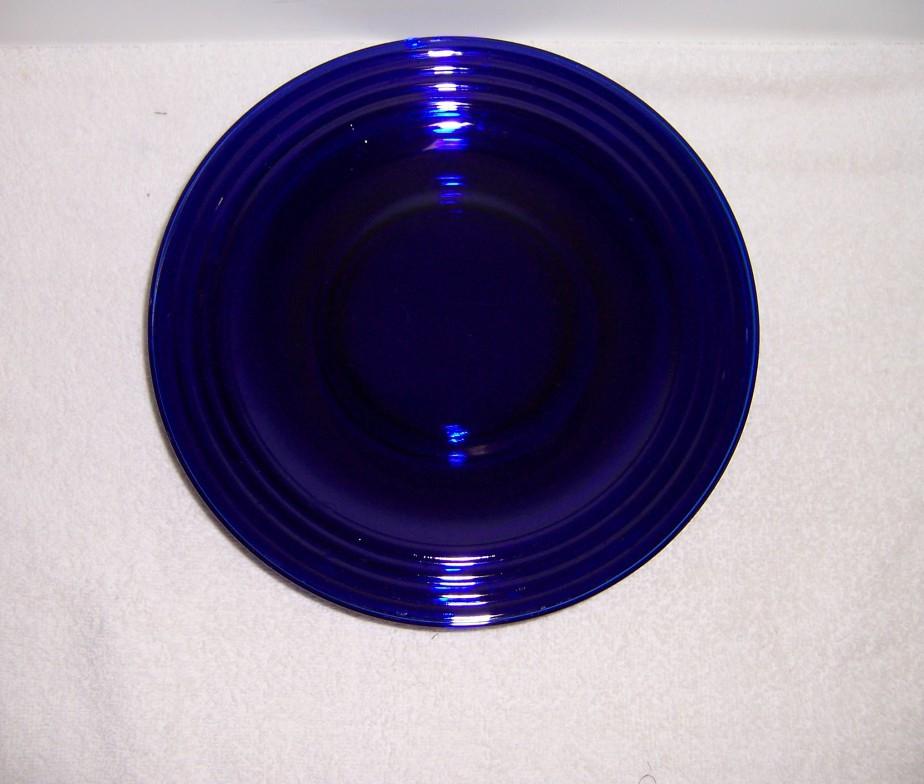 Blue Dinner Plates  Triple A Resale Four Cobalt Blue Glass Ribbed Dinner