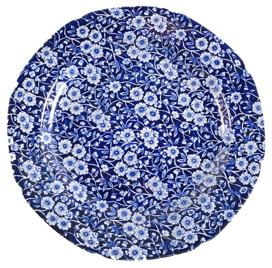 Blue Dinner Plates  Staffordshire CALICO BLUE CROWNFORD STAMP Dinner Plate