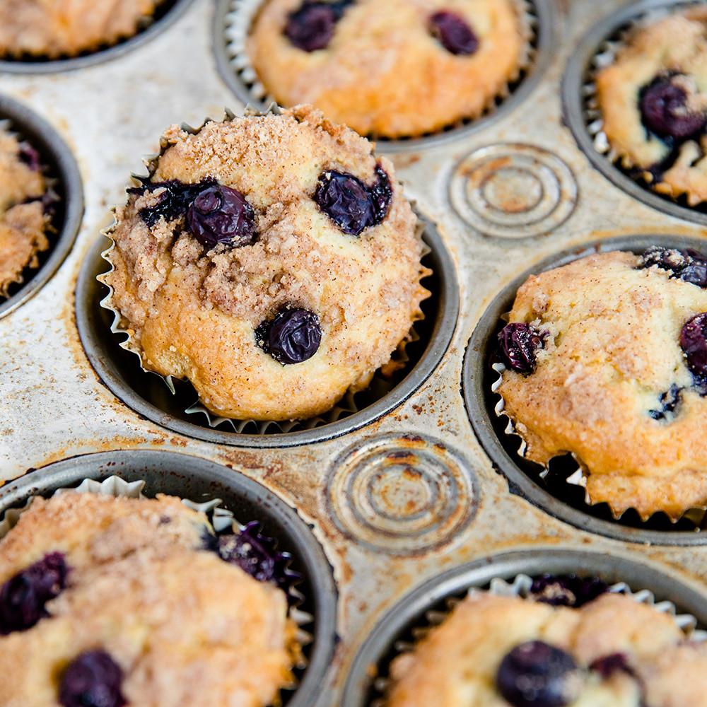 Blueberry Sour Cream Coffee Cake  Blueberry Sour Cream Coffee Cake Muffins with Streusel Topping
