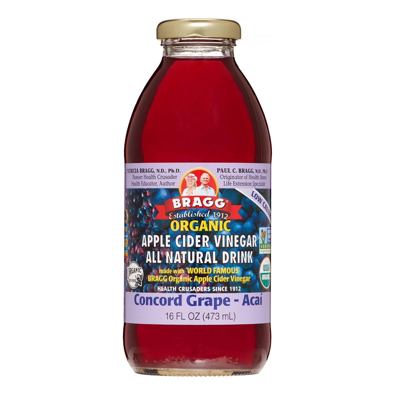 Braggs Apple Cider Vinegar Drink  Bragg Organic Apple Cider Vinegar Drink Concord Grape and