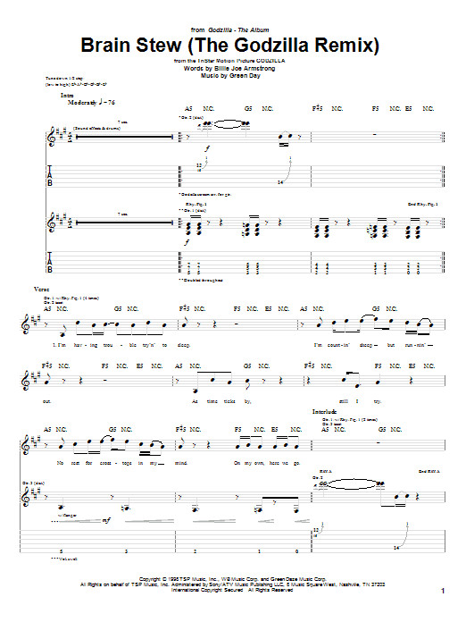 Brain Stew Lyrics  Brain Stew The Godzilla Remix Guitar Tab by Green Day