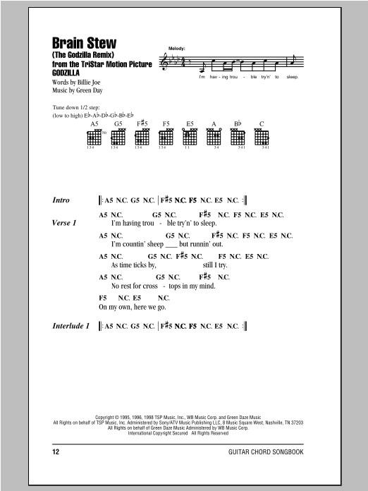 Brain Stew Lyrics  Brain Stew The Godzilla Remix sheet music by Green Day